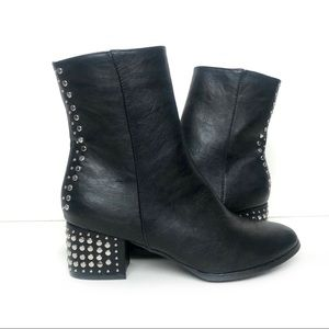 Chase & Chole Studded Ankle Boot Black Size 10